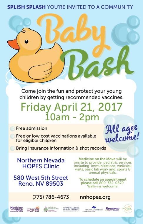 National Infant Immunization Week Baby Bash Community Baby Shower Event    Reno | Immunize Nevada