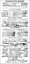 Immunization record of Staff Sergeant Eric W. Sandquist, US Army Air Corps, 1940s.